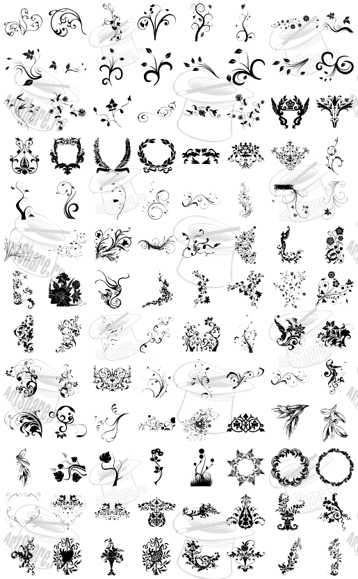 Цветочные узоры download vector floral shapes